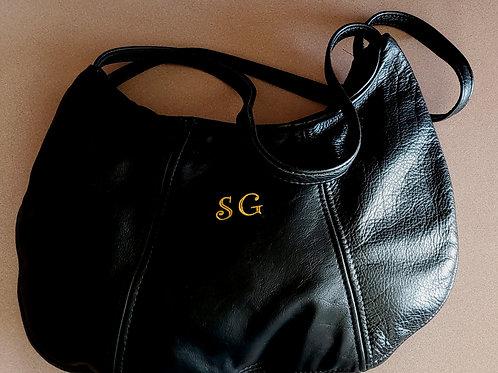 """Black """"SG"""" Leather Bag"""