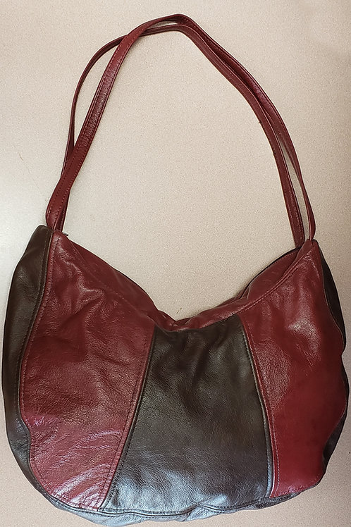 Wine & Brown Leather Bag