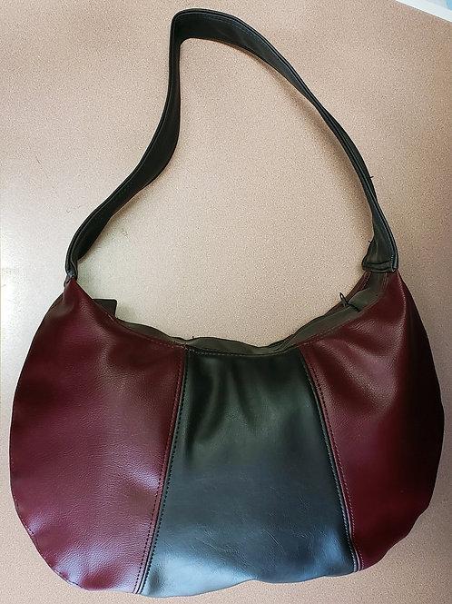 Wine & Black Leather Bag