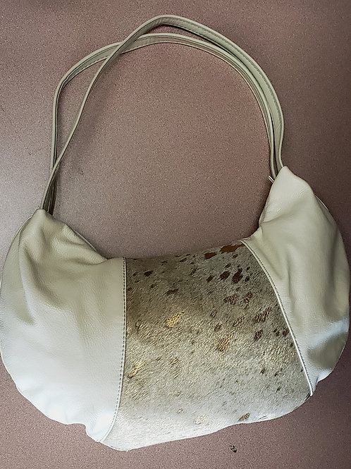 White & Gold Leather bag