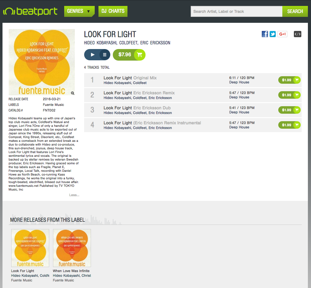Look For Light - Hideo Kobayashi & COLDFEET Beatport