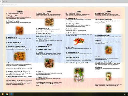 My exiting new menu