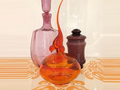 Vintage Viking Orange Glass Bird Jar