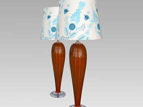 Pair of Amber Retro Vintage Art Glass Lamps,0045