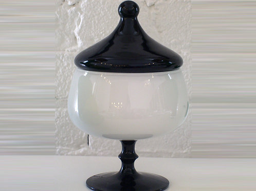 Vintage Black and White Cased Glass Apothecary Mid Century