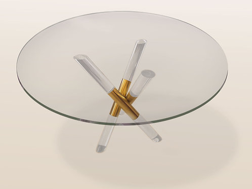 Brass and Lucite Crossed Base Table