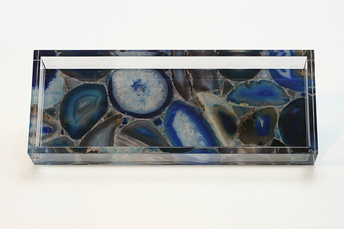 Lucite Blue Agate Pattern Tray