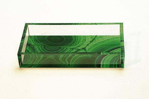 Lucite Malachite Digital Pattern Tray, Side