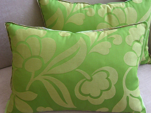 Pair of Green Floweret Pillows