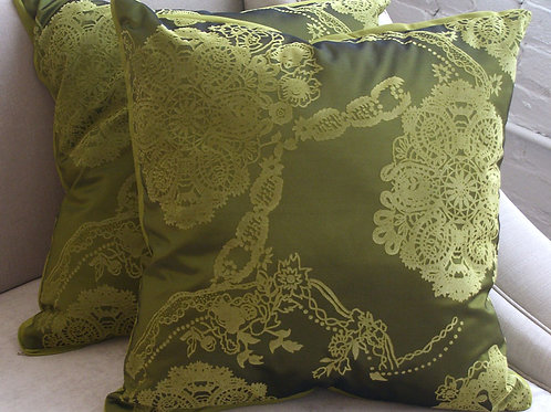 Green Flocked Pillows
