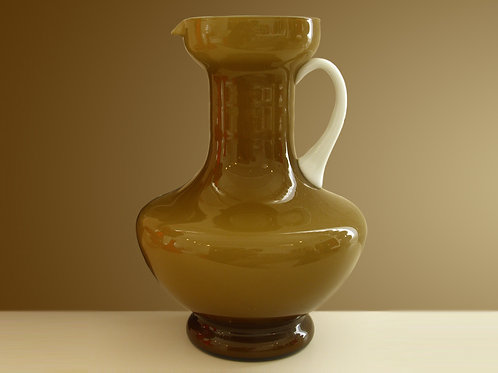Vintage Caramel / White Italian Cased Pitcher, Empoli Cased Glass, 0290