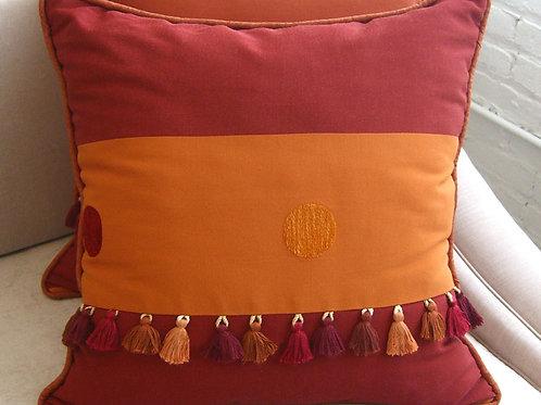 Pair of Rosewood Tasseled Pillows