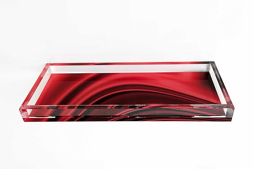 Lucite Red Drapery Tray