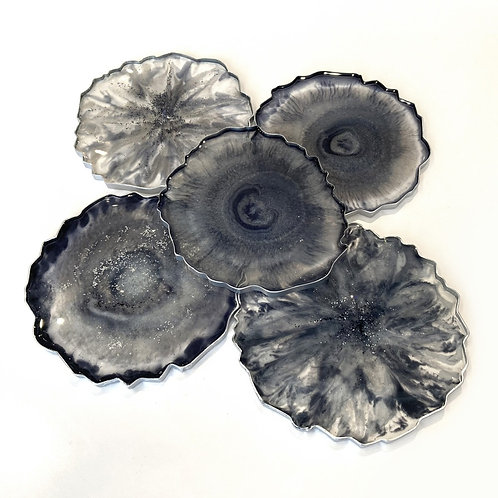 Set of five Gray Resin Geode Style coasters