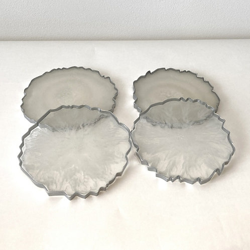 Set of four White Resin Geode Style Coasters