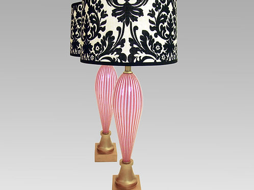 Pair of Striped Pink Murano Glass Table Lamps, Light red