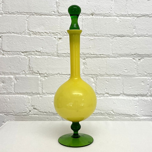 Vintage Cased Encased Glass Decanter Empoli (Italy) Yellow / Green #0270