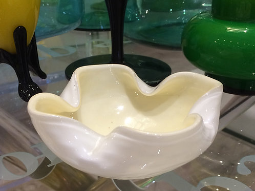 Vintage Unique Ivory White Cased Glass Ashtray