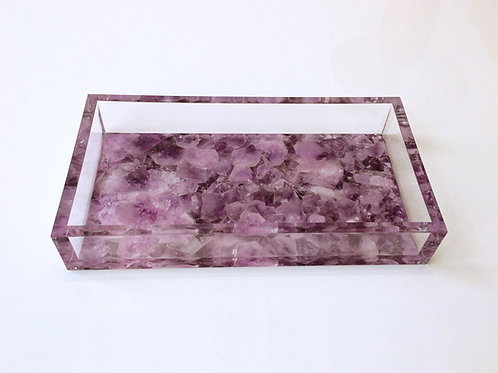 Lucite Pink Quartz Digital Pattern Tray