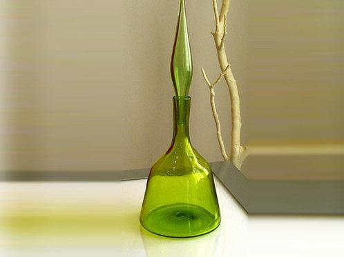 Vintage Olive Green Blenko Decanter W/ Stopper, Design by Wayne Husted, 0061