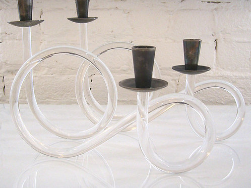 Pair of Dorothy Thorpe Lucite Candlesticks