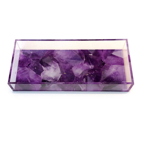 Lucite Amethyst Digital Pattern Tray, Front