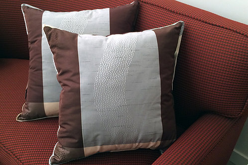 Pair of Striped Dotted Brown Gray Pillows