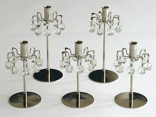 Vintage Lobmeyr Candlesticks, Austrian Crystals, Set of Five