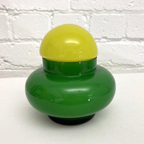 Vintage Green Enesco Cased Glass, Mid Century Jar w/lid, 0298