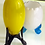 Vintage Footed yellow Glass Egg Vase, Mid Century Candle Holder