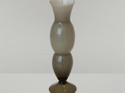 Vintage Smoke Grey Cased Empoli Glass, Mid Century Gurgle Vase, 0297