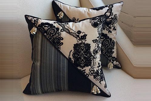 Pair of Dia Noire Flocked Pillows