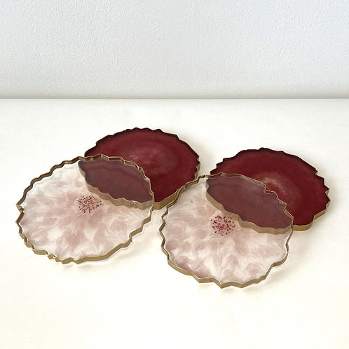 Set of four Wine Red / Pink Resin Geode Style Coasters