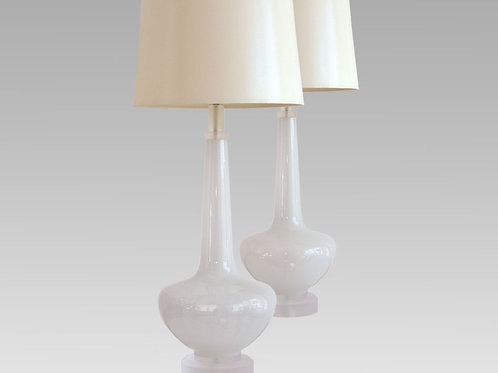 White Vintage Rebuilt and Rewired Table Lamps, Lucite Base