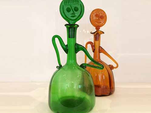 Green Vintage Decanter with face stopper, Attributed to Erik Höglund