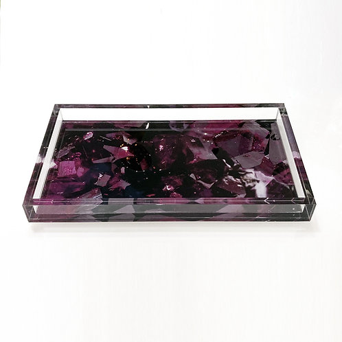 Lucite Tray With Color Infusion, Bixbite Red Beryl Digital Pattern