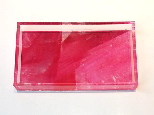 Lucite Fuchsia Digital Agate Pattern Tray, Home Decor