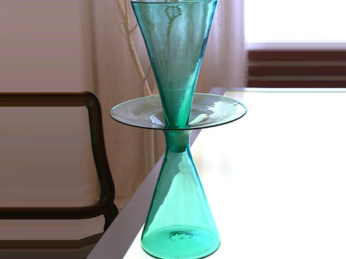 Vintage Sea Green Blenko Decanter, Mid-century, Design by Wayne Husted, 0100