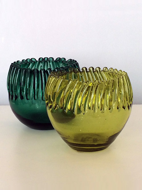 Vintage Olive Green Ruffled Edge Blenko Bowls