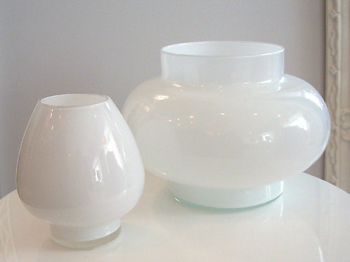 Vintage Set of White Cased Glass Bowls, Circa 1970s, 0141