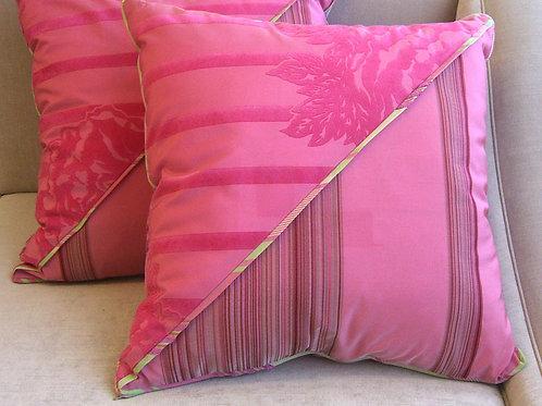 Pair of Dia Pink Flocked Pillows