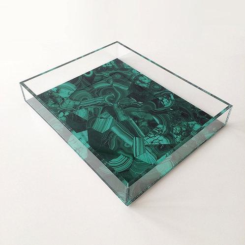 Lucite Acrylic Tray Handmade Green Malachite image