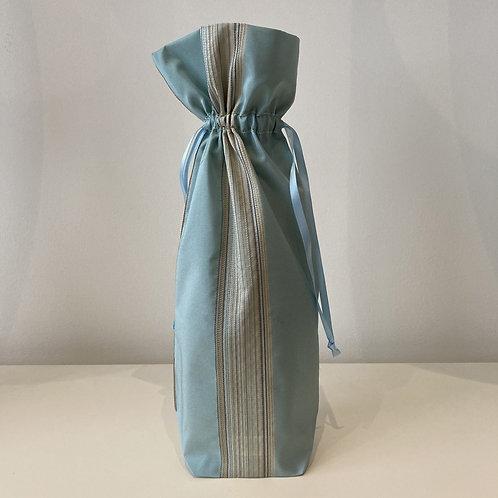 Aqua Blue Stripes Wine Bag