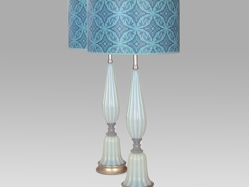 Pair of Pale Blue/White Opaline Lamps, 0041