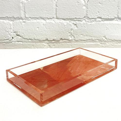 Lucite Orange Digital Agate Pattern Tray
