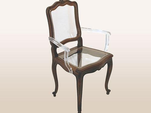Antique Mod-Louis Arm Chair, Lucite Back, Seat, Arm