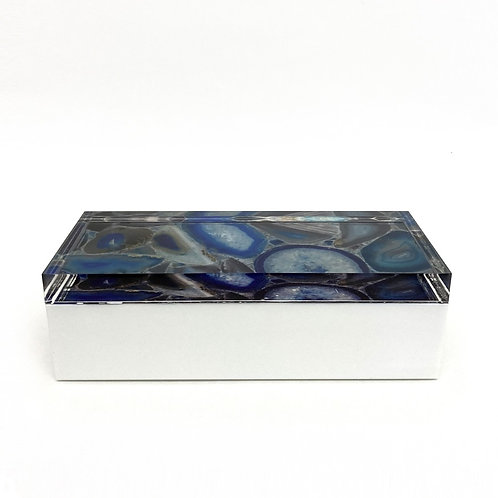 Lucite / Plastic Box With Digitally Printed Agate Image