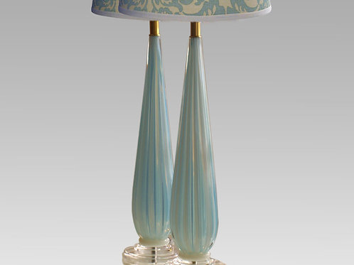 Pair of Eames Era Blue Opalescent Lamps, 0047