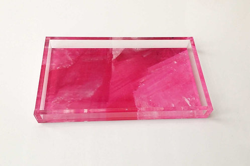 Lucite Fuchsia Digital Agate Pattern Tray, Front