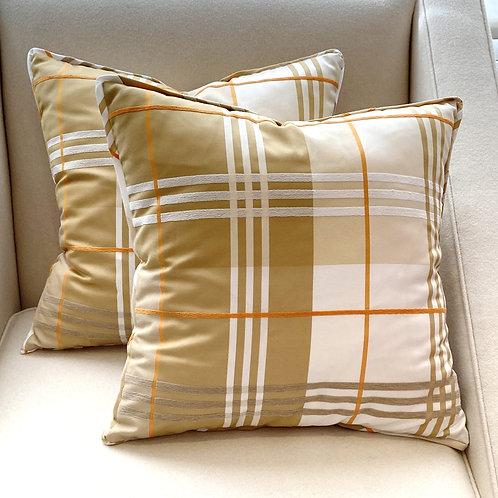 Pair of Cream Plaid Pillows